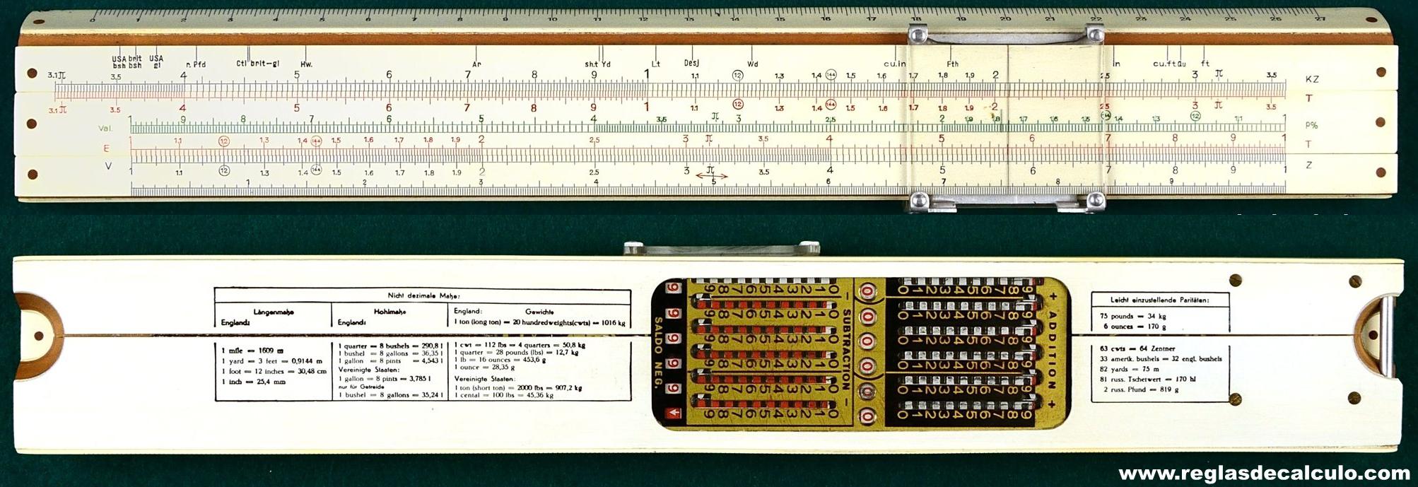 British pre-decimal £sd bottom edge scales - conversion tables + addiator  on back
