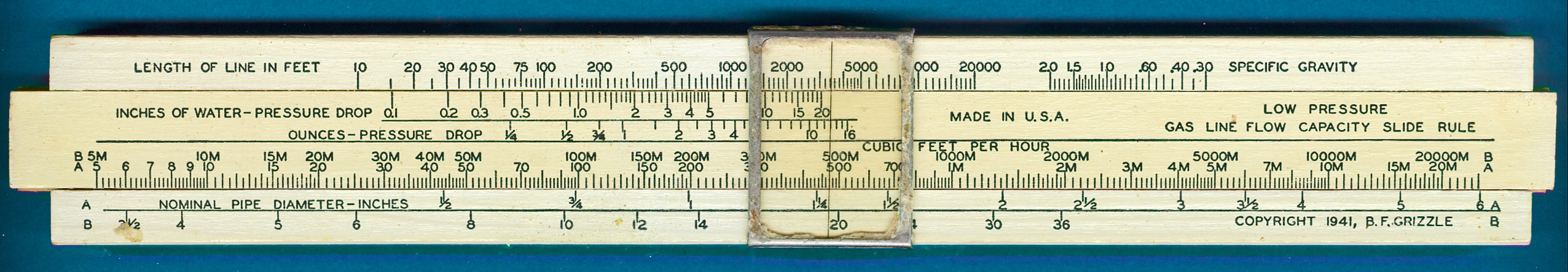 Lawrence Engineering Services B.F. Grizzle Gas Low Pressure Line Flow Capacity Slide Rule