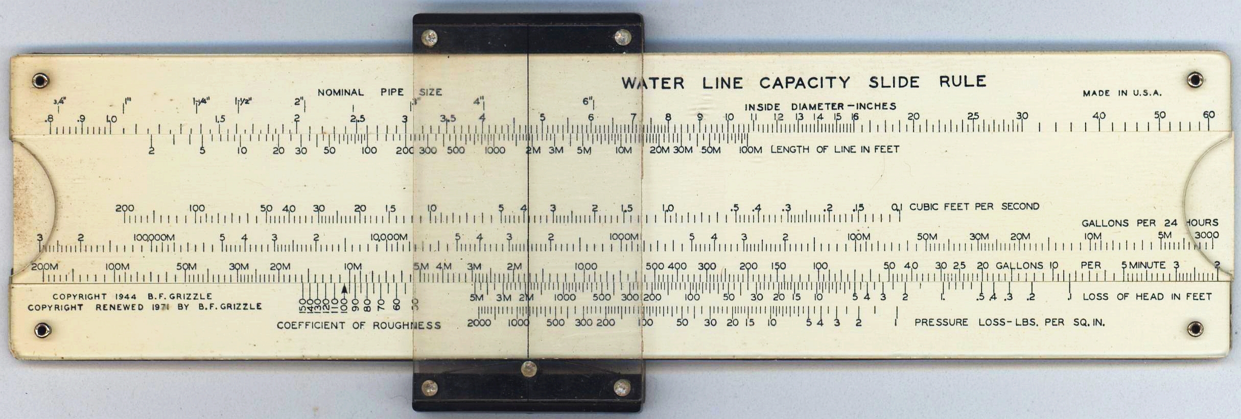 Unknown B.F. Grizzle Water Line Capacity
